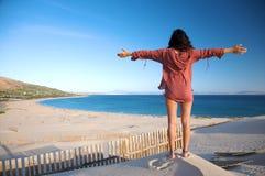 Greeting valdevaqueros beach Royalty Free Stock Images