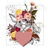 Greeting Valentine's Day card with rabbit holding pink heart. Cute or pretty greeting Valentine's Day card with rabbit holding pink heart and flowers. I Royalty Free Stock Image