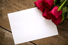 Greeting Valentine card with beautiful red roses Royalty Free Stock Photography
