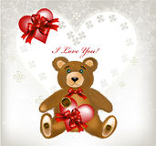 Greeting valentine card with heart, lace, toy bear Royalty Free Stock Image