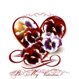 Greeting valentine card with heart and violets flowers Stock Photos