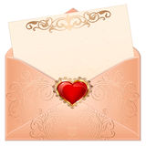 Greeting valentine hearts in an envelope. Romantic red and pink heart with ornaments letter illustration Stock Images