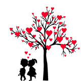 Greeting Valentine's Day card with tree of hearts and kids kissi stock illustration