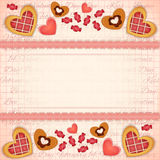 Greeting Valentines Card with Sweet Hearts Royalty Free Stock Images