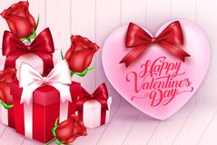 Greeting For Valentines Day With Pink Heart, Flowers and Gifts. In Wooden Background. Vector Illustration.n Royalty Free Stock Image
