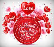 Greeting For Valentines Day With Red And Pink Heart Balloons Stock Photography