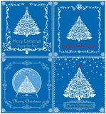 Greeting vintage blue Christmas cards collection with cut out paper  white xmas tree, snowflakes, globe and floral decorative bord. Er Stock Photos
