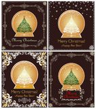 Greeting vintage cards with golden globe with Christmas tree for winter holidays. Greeting vintage cards collection with golden globe with Christmas tree for Stock Image