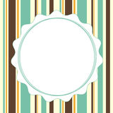 Greeting vintage striped vertical banner card invitation with circle frame for text Stock Photos