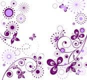 Greeting vintage violet card Stock Image