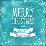 Greeting watercolor Card. Merry Christmas lettering. Vector Stock Images