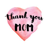 Greeting watercolor card. Mother's day.Thank you mom.Colorful hand drawn background with pink and violet colors. Royalty Free Stock Image