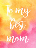 Greeting watercolor card.Mother's day. Royalty Free Stock Images
