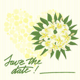 Greeting wedding card with tropical flower Stock Photography