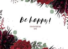 Greeting, wedding invite, party invitation card floral design. V royalty free illustration