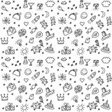 Greeting wishes icons seamless black and white pattern. Stock Photo
