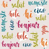 Greeting words in different languages. Greeting words in different languages Stock Photos