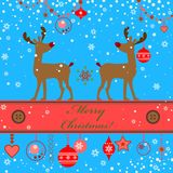 Greeting xmas card with deer Royalty Free Stock Photo
