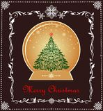 Greeting xmas sweet vintage card with gold globe, xmas tree, paper snowflakes and floral adornment. Greeting Christmas sweet vintage card with gold globe, xmas Stock Photo