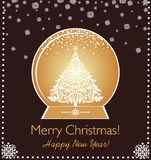 Greeting xmas vintage card with paper cut out golden globe, xmas tree and snowflakes. Greeting xmas vintage chocolate color card with paper cut out golden globe Stock Photo