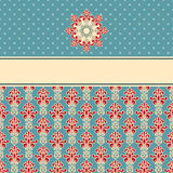 GreetingCard. Greeting card with seamless floral wallpaper pattern Royalty Free Stock Photos