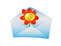 Greetings. An envelop (icon) with a flower in it. A @ sign in the blossom of the flower Stock Illustration