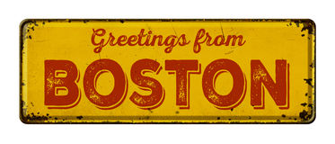 Greetings from Boston. Vintage metal sign on a white background - Greetings from Boston royalty free stock images
