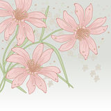 Greetings card. Greeting card for text with stylized flowers Stock Photo