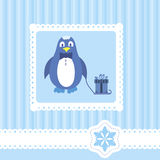 Greetings card. With cute penguin Stock Photos