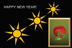 Greetings card. Happy new year greetings card with decorative elements Stock Photography
