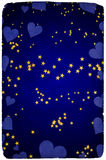 Greetings card background stars hearts Stock Photography