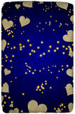 Greetings card background stars hearts Stock Photos