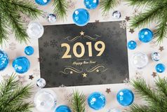 2019 greetings card with blue baubles 3D rendering vector illustration
