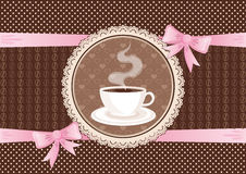 Greetings card with coffee and lace frame Stock Photos