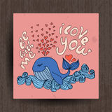 Greetings card with cute animals - whale and lettering Stock Images