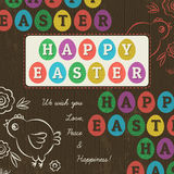 Greetings card for Easter Day with colored eggs, vector Royalty Free Stock Photography