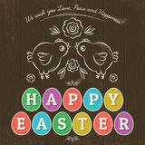 Greetings card for Easter Day with eleven colored eggs,vector. Greetings card for Easter Day with eleven colored eggs. Wooden background and two hand painted stock illustration