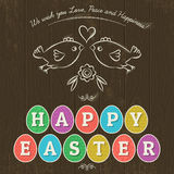 Greetings card for Easter Day with eleven colored eggs. Stock Images