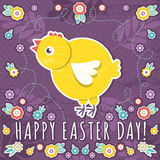 Greetings card with easter eggs and one chicken Stock Photography