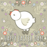 Greetings card with easter eggs and one chicken Stock Images
