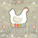 Greetings card with easter eggs and one hen Royalty Free Stock Photography