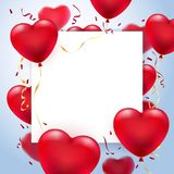 Heart balloons greeting card frame