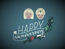 A greetings card/gift card of  happy anniversary, vector. royalty free illustration