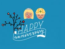 A greetings card/gift card of  happy anniversary, vector. vector illustration
