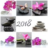Greetings card 2018. Concept well-being and beauty collage of stones and flowers Royalty Free Stock Images