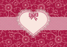 Greetings card with heart frame and dotted ribbon Royalty Free Stock Image