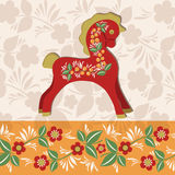 Greetings card with horse 1. Horse decorated with folklore pattern. Vector colorful background. Wooden horse symbol of New Year 2014 Stock Photo