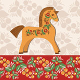 Greetings card with horse 2. Horse decorated with folklore pattern. Vector colorful background. Wooden horse symbol of New Year 2014 Royalty Free Stock Photo