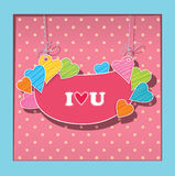 Greetings card for lovers. Imitation paper applica Royalty Free Stock Photo