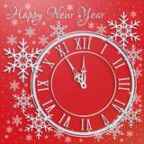 Greetings card for the new year with snowflakes and watches.  Royalty Free Stock Photography